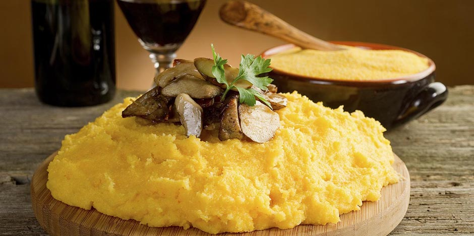 Pre-cooked polenta with mushrooms